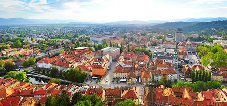 ljubljana: Panoramic aerial  view of Ljubljana city . Slovenia Stock Photo