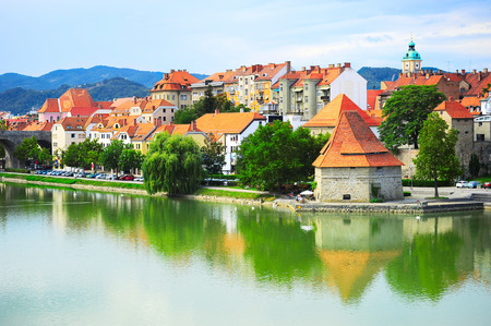 Skyline of Maribor city in the sunshine day, Slovenia