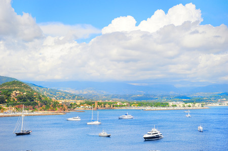 cote: View of sea bay , yachts and boats. French Riviera, Azure Coast or Cote d Azur, Provence, France