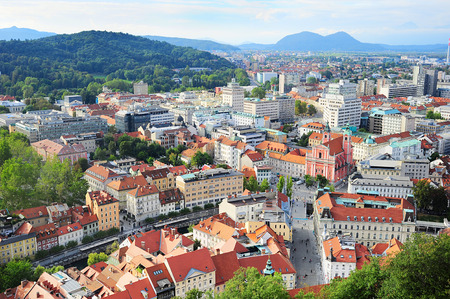 View from above on Ljubljana old town at sunset, Slovenia  photo