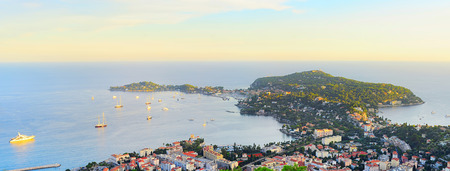 azure coast: Panoramic sea bay view, yachts and boats. French Riviera, Azure Coast or Cote d Azur, Provence, France  Stock Photo