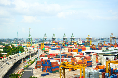 Panoramic view of industrial port of Singapore photo