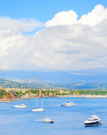 d���azur: Pannorama of sea bay , yachts and boats. French Riviera, Azure Coast or Cote d Azur, Provence, France
