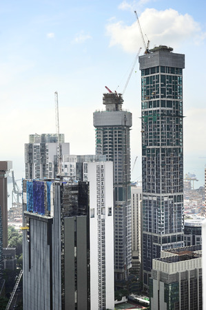 View of construction site in downtown of Singapore