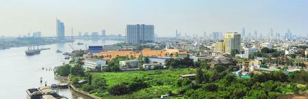 phraya: Panoramic view of Bangkok with Chao Phraya River , Thailand