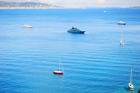 cote d'azure: Yachts and boats in sea bay. French Riviera, Azure Coast or Cote d Azur, Provence, France