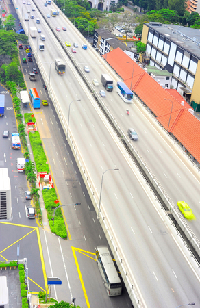 Aerial view on highway traffic in Singapore photo