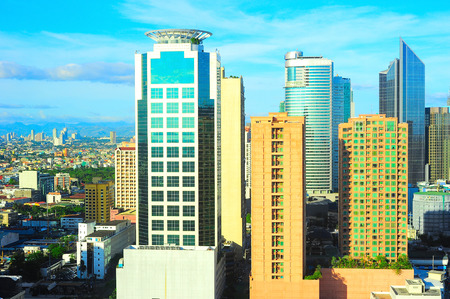 View of Makati city - modern financial and business district of Metro Manila, Philippines  photo