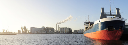 Panoramic view of tanker and power plant  in Amsterdam harbor . Netherlands photo