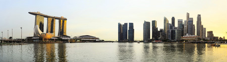 Amazing panoramic view on Singapore business center   photo