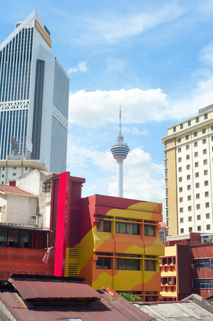kl: Chinatown  architecture and KL Tower in Kuala Lumpur, Malaysia Stock Photo