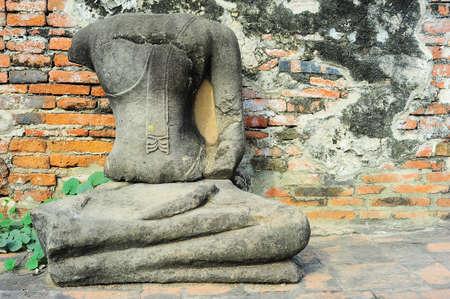 Buddha statue without head in Ayutthaya historical park, Ayutthaya , Thailand  photo