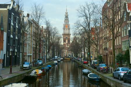 westerkerk: Channel and famous Westerkerk in Amsterdam