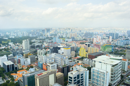 Singapore residential and industrial quarter, aerial view