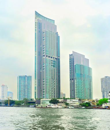 phraya: Bangkok city downtown and Chao Phraya river, Thailand  Stock Photo