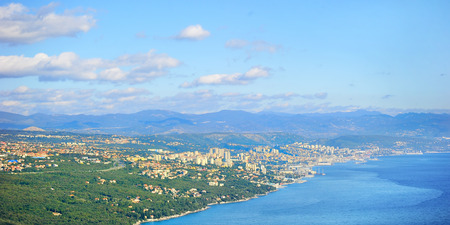 Landscape with Rijeka city, Alps mountains and Adriatic sea. Croatia.  photo