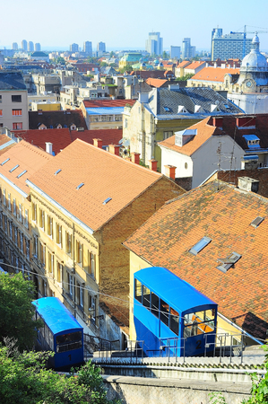 shortest: Skyline of Zagreb with Funicular . Its 66-metre  track makes it one of the shortest public-transport funiculars in the world.