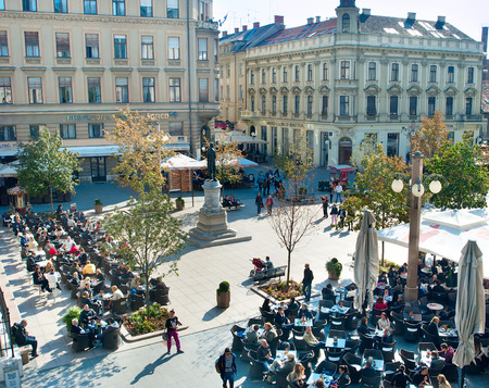 central square: ZAGREB, CROATIA - OCTOBER 02, 2013: People at Petar Preradovic Square in Zagreb. Zagreb is the capital and the largest city of the Republic of Croatia Editorial