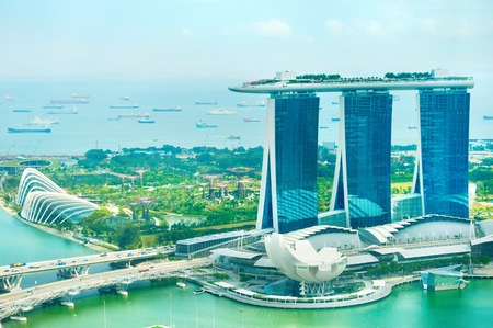 Panorama of Singapore bay . View from above