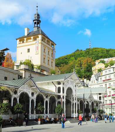vary: KARLOVY VARY, CZECH REPUBLIC -  SEPT 20, 2012: Hot springs colonnade  in Karlovy Vary. Karlovy Vary historically famous for its hot springs (13 main springs, about 300 smaller springs)