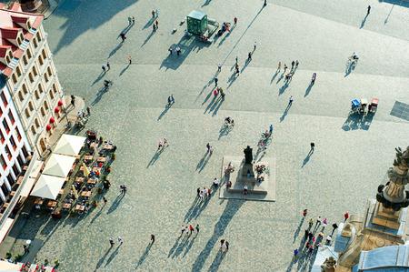 드레스덴, 독일에서 Neumarkt 광장의 공중보기