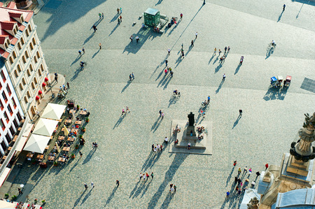 birdseye view: Aerial view of  Neumarkt square in Dresden, Germany Stock Photo