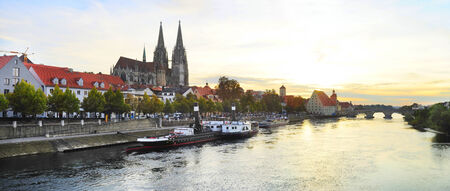 regensburg: Panorama of Regensburg old town at sunset. Germany Stock Photo
