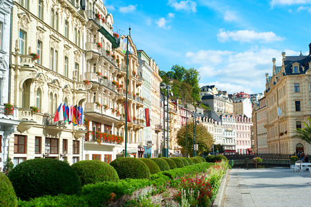 karlovy: VUew of Old Town of Karlovy Vary, Czech Republic Stock Photo
