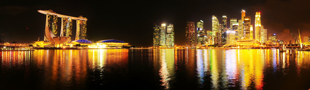 Panoramic view of Singapore at night