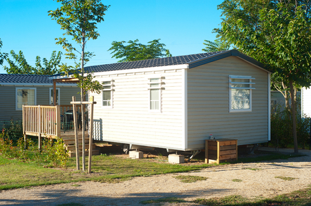 Camping site with  identical mobil homes  Stock Photo