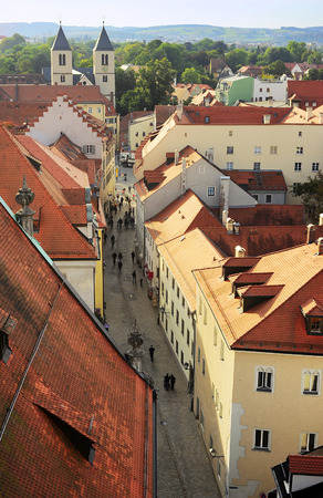 regensburg: Top view of Old Town street of Regensburg at sunset. Germany