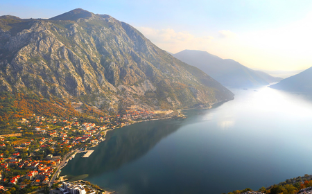 Beautiful landscape with Risan town ,sea and mountains.  Montenegro photo