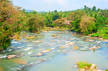 Locals swimming in mountain river in Sri Lanka photo