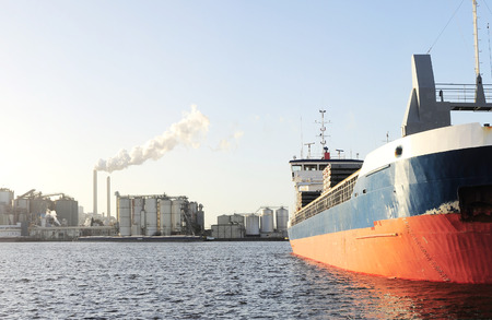 Tanker and power plant in Amsterdam harbor . Netherlands photo