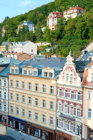 vary: Aerial view of Old Town. Karlovy Vary, Czech Republic