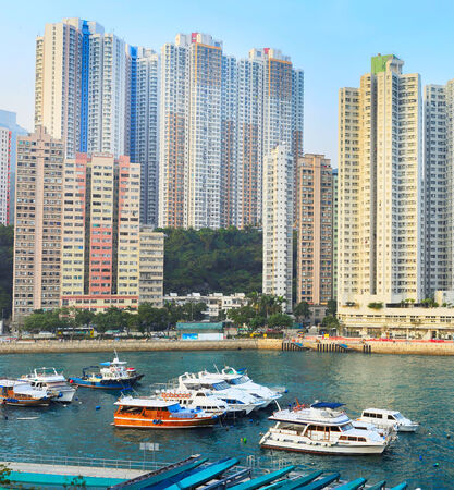 Architecture of Aberdeen Bay in Hong Kong at sunset photo