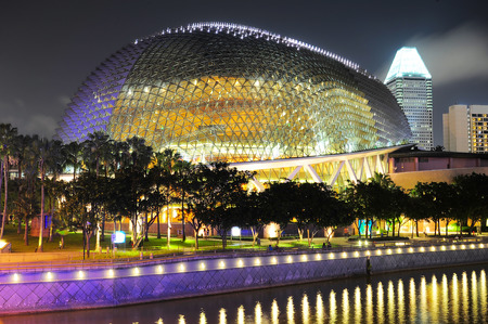 SINGAPORE - MRCH 07, 2013: Esplanade Theatres on the Bay in Singapore. Esplanade theater is a modern building for musical,art gallery and concert.  Stock Photo - 29775539