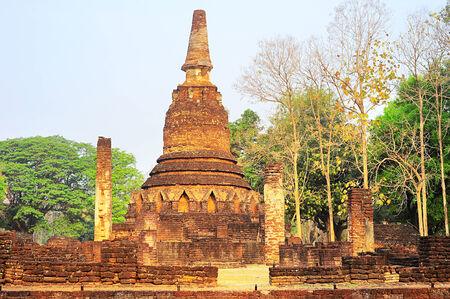 Ruins at Si Satchanalai historical park at sunset, Sukhothai , Thailand  photo