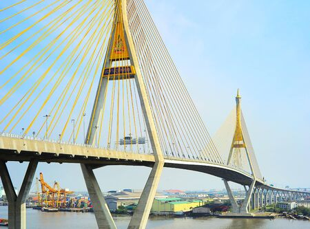 The Bhumibol Bridge also known as the Industrial Ring Road Bridge is part of the 13 km long Industrial Ring Road  photo