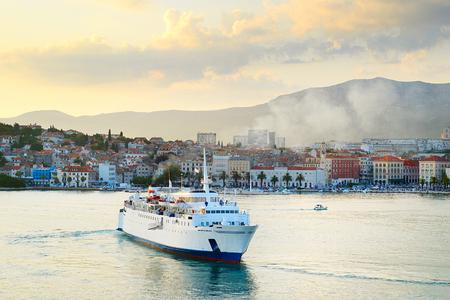 Cruise ship in a Split harbor at dusk. Croatia photo