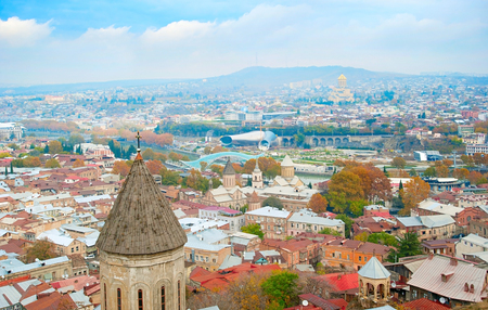 Skyline of Tbilisi, Georgia. Aerial view  photo