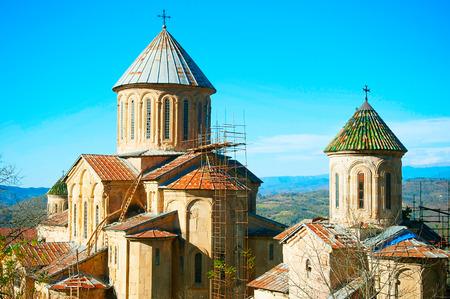 monastery nature: Famous Gelati Monastery in the sunshine day. Kutaisi, Georgia. Stock Photo
