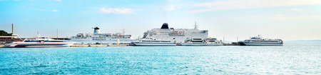 luxury liner: Port of Split in the sunshine day. Panoramic view Stock Photo
