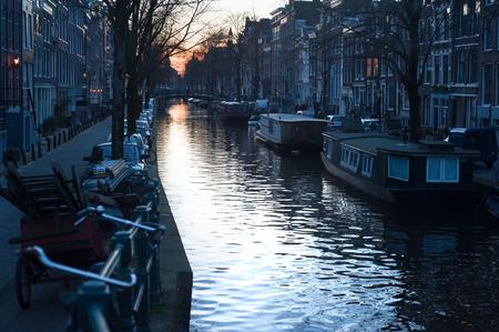 Amsterdam canal at a beautiful evening light. Netherlands photo