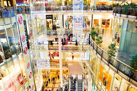 PRAGUE, CZECH REPUBLIC - NOVEMBER 18, 2014: Palladium shopping mall with Christmas decorations. Palladium is a shopping mall located in the centre of Prague. The mall contains 170 shops and 30 restaurants,