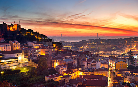 cityscape: Cityscape of Lisbon in the beautiful sunset. Porugal