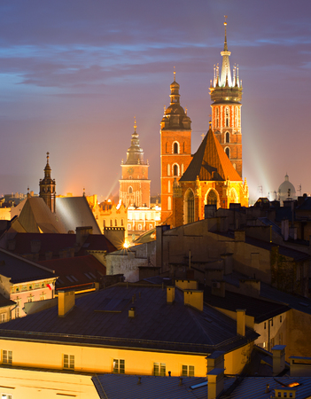 View of Krakow with St. Marys Church at the Main Market Square