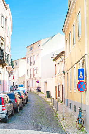 chiado: Typical empty street in Lisbon in the sunshine day. Portugal