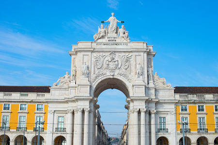 augusta: Famous Rua Augusta Arch at sunset in Lisbon, Portugal Editorial