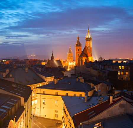 Krakow Old Town with St. Marys Church at the Main Market Square Stock Photo